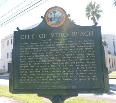 City of Vero Beach Marker - Panel 2 image. Click for full size.