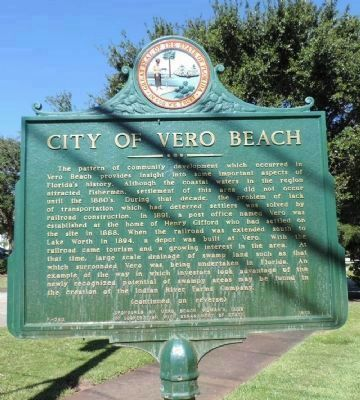 City of Vero Beach Marker - Panel 1 image. Click for full size.