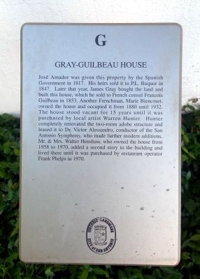 Gray-Guilbeau House Marker image. Click for full size.