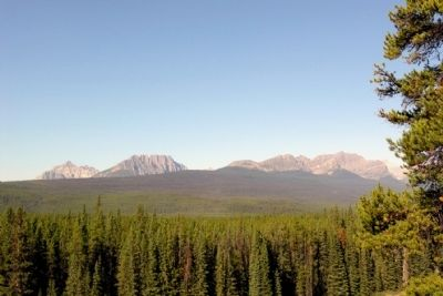 From Left to Right, Mount Whymper, Boom Mountain, and Mount Bell image. Click for full size.
