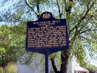 Whitaker Mill Cedar Grove Marker image. Click for full size.
