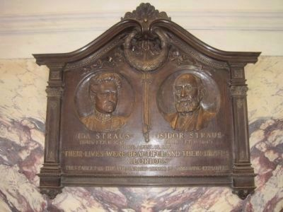 Ida and Isidor Straus Memorial Plaque image. Click for full size.