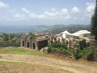 Outbuildings of Morne Fortune/Fort Charlotte with a view of Castries image. Click for full size.