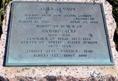 Coke County Marker Inscription Tablet image. Click for full size.