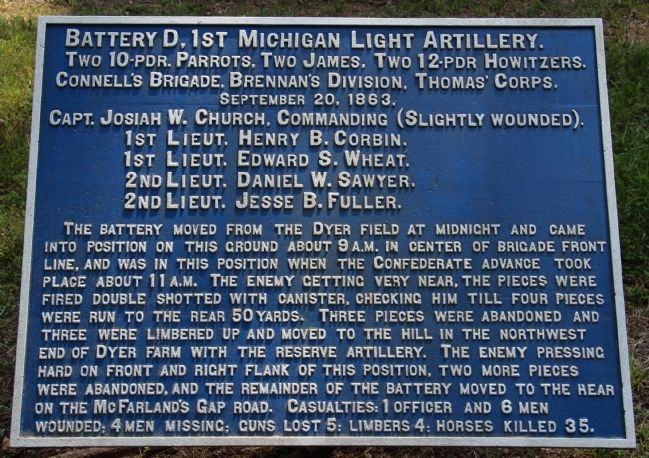 Battery D, 1st Michigan Light Artillery Marker image. Click for full size.