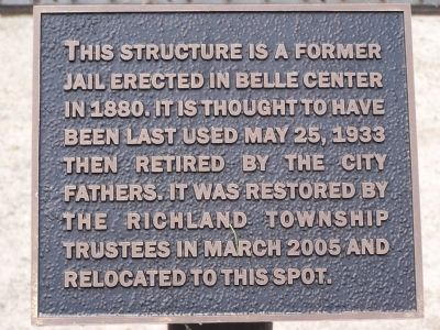 Belle Center Jail Marker image. Click for full size.