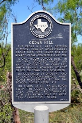 Old Community of Cedar Hill Marker image. Click for full size.