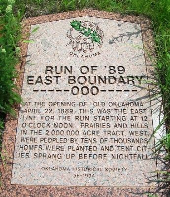 Run of '89 East Boundary Marker image. Click for full size.
