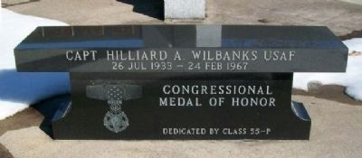 Capt. Hilliard A. Wilbanks USAF Bench (Side A) image. Click for full size.