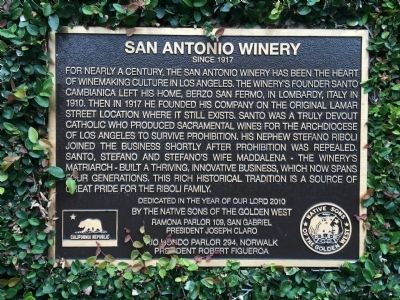 San Antonio Winery Marker image. Click for full size.