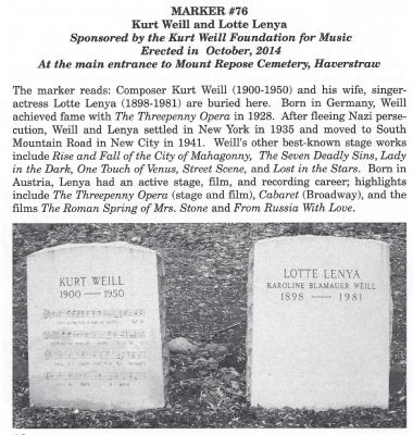 Kurt Weill and Lotte Lenya Marker image. Click for full size.