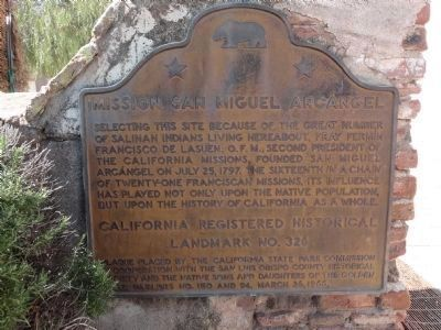 Mission San Miguel Arcangel Marker image. Click for full size.