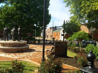Area view of courthouse park and markers. image. Click for full size.