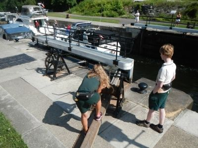 Operating the locks is still done by hand. image. Click for full size.