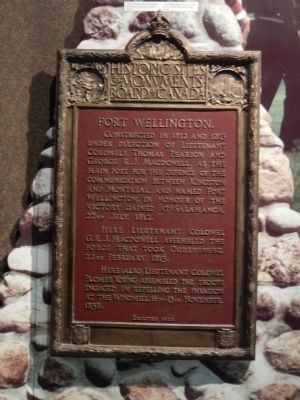 Fort Wellington plaque, located inside the blockhouse image. Click for full size.