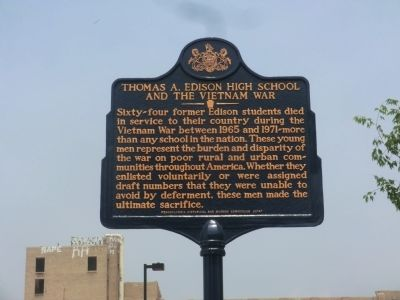 Thomas A. Edison High School and the Vietnam War Marker image. Click for full size.