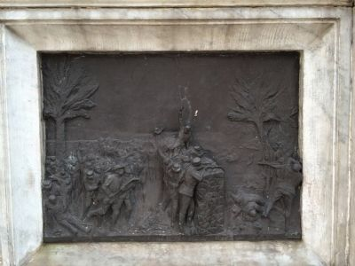 Bronze relief of the Battle of Espiritu Santo image. Click for full size.