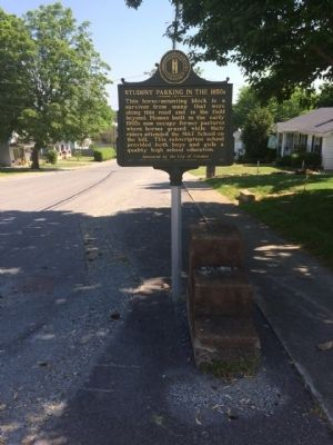 Horse-mounting block in front of marker. image. Click for full size.