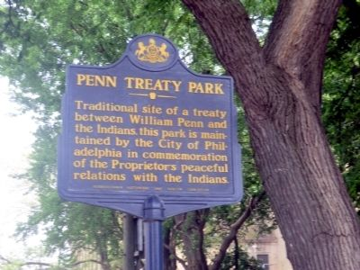 Penn Treaty Park Marker image. Click for full size.