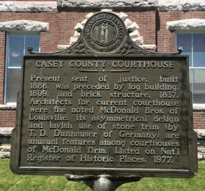 Casey County Courthouse Marker image. Click for full size.