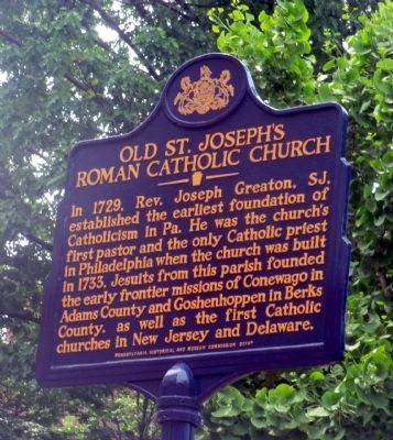 Old St. Joseph's Roman Catholic Church Marker image. Click for full size.
