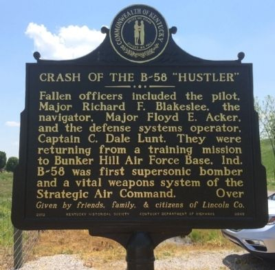 "Crash of the B-58 ""Hustler"" Marker (Reverse) image. Click for full size."