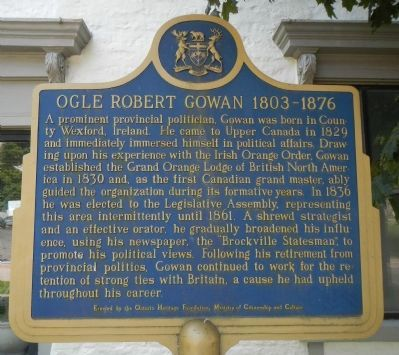 Ogle Robert Gowan, 1803-1876 Marker image. Click for full size.