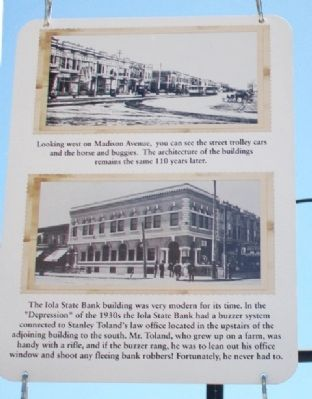 Iola State Bank and Madison Avenue Marker image. Click for full size.