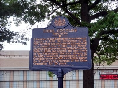 Eddie Gottlieb Marker image. Click for full size.