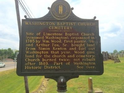 Washington Baptist Church Cemetery Marker image. Click for full size.