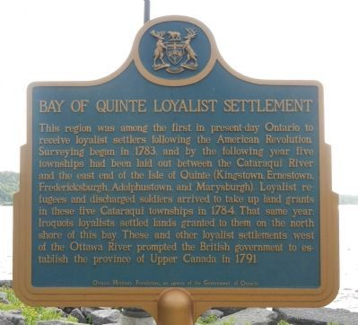 Bay of Quinte Loyalist Settlement Marker image. Click for full size.