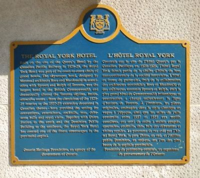 The Royal York Hotel Marker image. Click for full size.