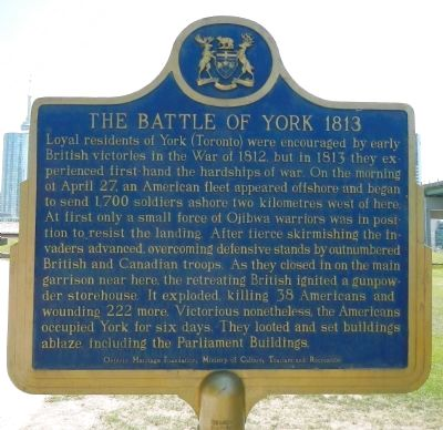 The Battle of York 1813 Marker image. Click for full size.