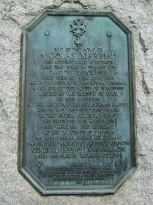 Site of the Home of Nicolas Martiau Marker image. Click for full size.