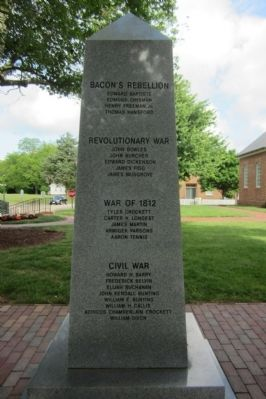 York County War Monument Marker (east face) image. Click for full size.
