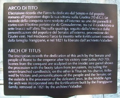 Arch of Titus / Arco di Tito Marker image. Click for full size.