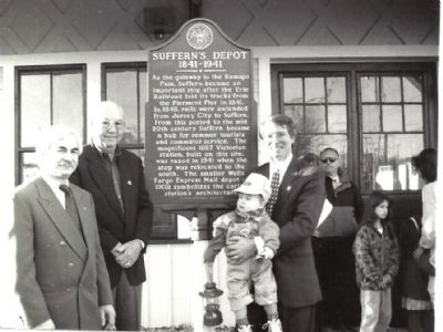 Suffern's Depot with Howard Glinsky, Andrew Haggerty, Craig H. Long, HSRC Trustree with son Craig image. Click for full size.