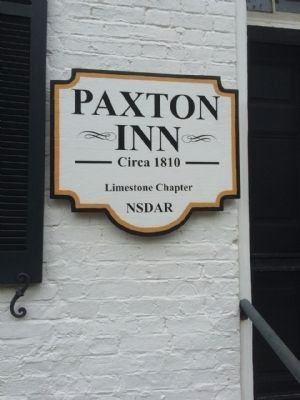 Paxton Inn sign at front door. image. Click for full size.