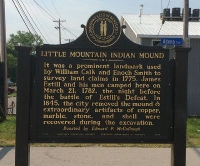 Little Mountain Indian Mound Marker (Reverse) image. Click for full size.