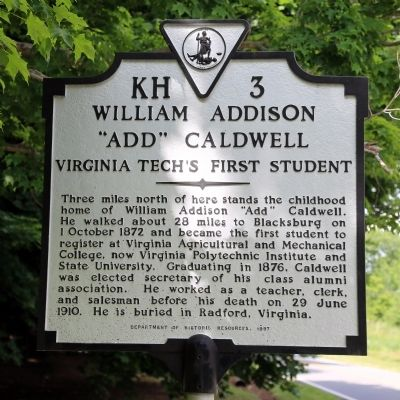 "William Addison ""Add"" Caldwell Marker image. Click for full size."