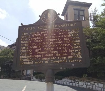 Early South Frankfort Marker [reverse] image. Click for full size.