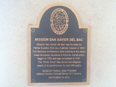 Mission San Xavier del Bac Marker image. Click for full size.