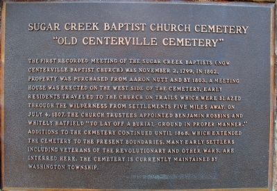 Sugar Creek Baptist Church Cemetery Marker image. Click for full size.