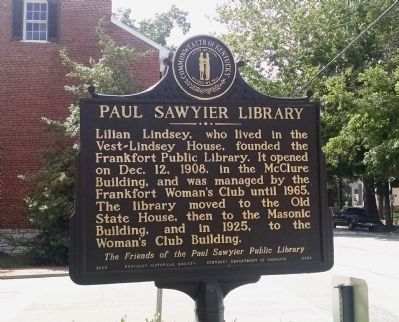 Paul Sawyier Library Marker [front] image. Click for full size.