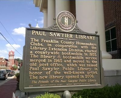 Paul Sawyier Library Marker [reverse] image. Click for full size.