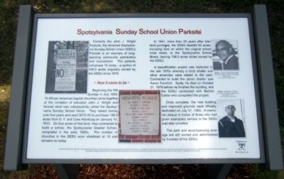 Spotsylvania Sunday School Union Parksite Marker image. Click for full size.