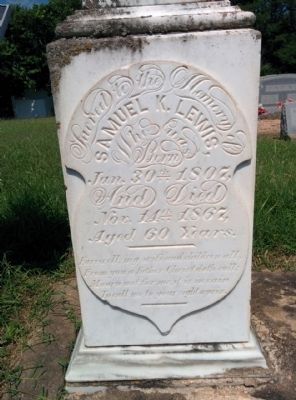 Text on Samuel Knight Lewis grave stone image. Click for full size.