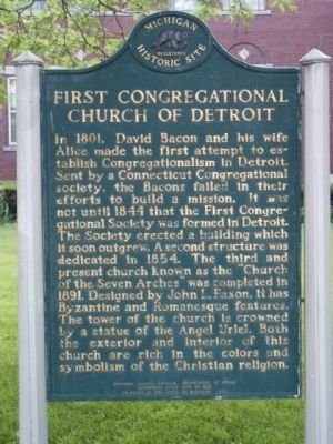 First Congregational Church of Detroit Marker image. Click for full size.