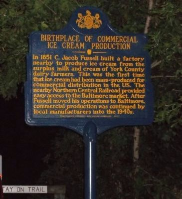 Birthplace of Commercial Ice Cream Production Marker image. Click for full size.