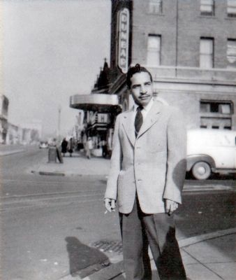 Marshall Murray<br>in front of his Dunbar Theatre image. Click for full size.